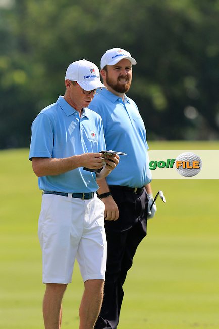 Dermot Byrne with Shane Lowry (IRL) European Team during Pro-Am Day of the 2016 Eurasia Cup held at the Glenmarie Golf &amp; Country Club, Kuala Lumpur, Malaysia. 14th January 2016.<br /> Picture: Eoin Clarke | Golffile<br /> <br /> <br /> <br /> All photos usage must carry mandatory copyright credit (&copy; Golffile | Eoin Clarke)