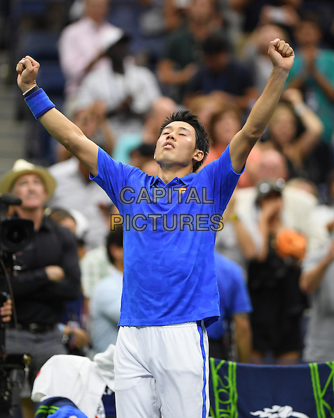 FLUSHING NY- SEPTEMBER 07: Kei Nishikori reacts after winning his match against Andy Murray on Arthur Ashe Stadium at the USTA Billie Jean King National Tennis Center on September 7, 2016 in Flushing Queens. <br /> CAP/MPI04<br /> &copy;MPI04/Capital Pictures