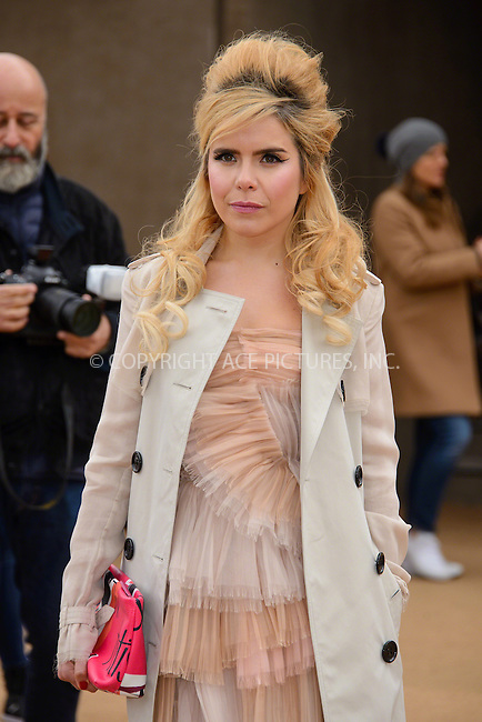 WWW.ACEPIXS.COM<br /> <br /> February 23 2015, London<br /> <br /> Paloma Faith arriving at the Burberry Prorsum Womenswear AW15 at the Brixton Academy on February 23 2015 in London. <br /> <br /> By Line: Famous/ACE Pictures<br /> <br /> <br /> ACE Pictures, Inc.<br /> tel: 646 769 0430<br /> Email: info@acepixs.com<br /> www.acepixs.com