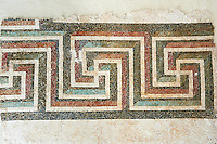 Roman geometric floor mosaic with swastikas. From the Roman villa near Botte, Rome. 1st century BC . National Roman Museum, Rome, Italy