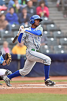 Hartford Yard Goats right fielder Raimel Tapia (15) swings at a pitch during a game against the Richmond Flying Squirrels at The Diamond on April 30, 2016 in Richmond, Virginia. The Yard Goats defeated the Flying Squirrels 5-1. (Tony Farlow/Four Seam Images)