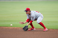 Lakewood BlueClaws second baseman Scott Kingery (18) fields a ground ball against the Kannapolis Intimidators at Intimidators Stadium on July 14, 2015 in Kannapolis, North Carolina.  The Intimidators defeated the BlueClaws 8-2.  (Brian Westerholt/Four Seam Images)