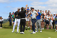 Conor Moore (AM), Guido Migliozzi (ITA) and Niall Horan (AM) on the 2nd during the Pro-Am of the Irish Open at LaHinch Golf Club, LaHinch, Co. Clare on Wednesday 3rd July 2019.<br /> Picture:  Thos Caffrey / Golffile<br /> <br /> All photos usage must carry mandatory copyright credit (© Golffile | Thos Caffrey)