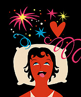 Ecstatic woman in bed seeing stars and fireworks