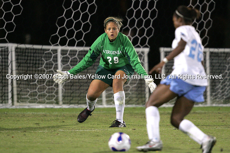 9 November 2007: Virginia goalkeeper Chantel Jones (29) challenges North Carolina's Nikki Washington (26). The University of North Carolina tied the University of Virginia 1-1 at the Disney Wide World of Sports complex in Orlando, FL in an Atlantic Coast Conference tournament semifinal match.  UNC advanced to the finals on penalty kicks, 4-2.