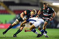 Luke Hamilton of Leicester Tigers takes on the Castres defence. European Rugby Champions Cup match, between Leicester Tigers and Castres Olympique on October 21, 2017 at Welford Road in Leicester, England. Photo by: Patrick Khachfe / JMP
