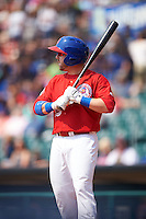 Buffalo Bisons designated hitter Caleb Gindl (15) at bat during a game against the Scranton/Wilkes-Barre RailRiders on June 10, 2015 at Coca-Cola Field in Buffalo, New York.  Scranton/Wilkes-Barre defeated Buffalo 7-2.  (Mike Janes/Four Seam Images)
