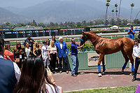 """ARCADIA, CA  JUNE 23:Bob Baffert, Jill Baffert, Mike Smith Eduardo Luna, Humberto Gomez and the connections in the winners circle on  """"Justify Day"""" on June 23, 2018 at Santa Anita Park in Arcadia, CA.  (Photo by Casey Phillips/Eclipse Sportswire/Getty Images)"""