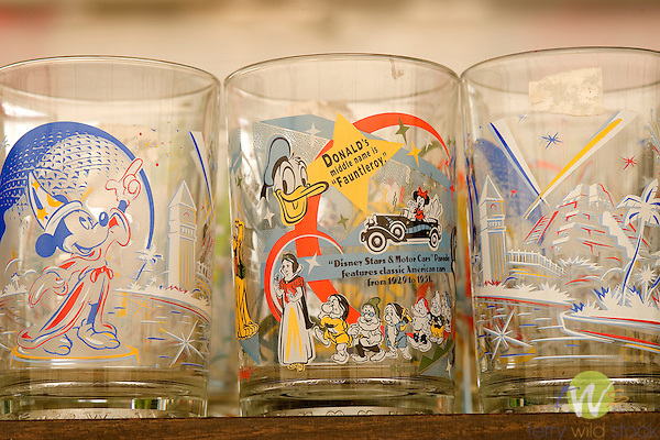 Mickey Mouse glassware at flea market.