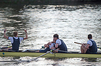 Mortlake/Chiswick, GREATER LONDON. United Kingdom. 2017 Men's Boat Race winners OUBC Celebrate, winning, The Championship Course, Putney to Mortlake on the River Thames.<br /> <br /> Crew: Oxford, Bow: William Warr, 2: Matthew O&rsquo;Leary &ndash; USA, 3: Oliver Cook, 4: Joshua Bugaski, 5: Olivier Siegelaar &ndash; NED, 6: Michael DiSanto &ndash; USA, 7: James Cook, Stroke: Vassilis Ragoussis, Cox: Sam Collier &ndash; <br /> <br /> <br /> Sunday  02/04/2017<br /> <br /> [Mandatory Credit; Peter SPURRIER/Intersport Images]