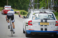 Tom Veelers (NED/Giant-Shimano) catching a bidon speeding down<br /> <br /> Ster ZLM Tour 2014