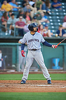 Nick Tanielu (21) of the Round Rock Express bats against the Salt Lake Bees at Smith's Ballpark on June 10, 2019 in Salt Lake City, Utah. The Bees defeated the Express 9-7. (Stephen Smith/Four Seam Images)