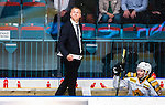 ***BETALBILD***  <br /> Stockholm 2015-09-19 Ishockey SHL Djurg&aring;rdens IF - Skellefte&aring; AIK :  <br /> Skellefte&aring;s assisterande tr&auml;nare Bert Robertsson ser nedst&auml;md ut i avbytarb&aring;set bredvid Arvid Lundberg under matchen mellan Djurg&aring;rdens IF och Skellefte&aring; AIK <br /> (Foto: Kenta J&ouml;nsson) Nyckelord:  Ishockey Hockey SHL Hovet Johanneshovs Isstadion Djurg&aring;rden DIF Skellefte&aring; SAIK depp besviken besvikelse sorg ledsen deppig nedst&auml;md uppgiven sad disappointment disappointed dejected