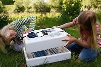 Kinder wollen Hühnereier in einer Brutmaschine ausbrüten, Hühnerei, Eier, Ei, die Brutmaschine wird verschlossen