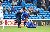 30th September 2017, Cardiff City Stadium, Cardiff, Wales; EFL Championship football, Cardiff City versus Derby County; Sean Morrison (C) of Cardiff City goes down holding his right knee at the end of the 1st half