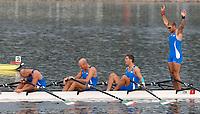 L'equipaggio italiano del 4 di coppia  Luca Agamennoni, Simone Venier, Rossano Galtarossa, Simone Raineri, vincitore della medaglia d'argento.<br /> Esultanza all'arrivo con l'equipaggio stanchissimo<br /> Sy Rowing - Canoeing Park<br /> Pechino - Beijing 17/8/2008 Olimpiadi 2008 Olympic Games<br /> Foto Andrea Staccioli Insidefoto