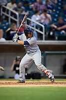 Pensacola Blue Wahoos catcher Chadwick Tromp (13) at bat during a game against the Birmingham Barons on May 8, 2018 at Regions Field in Birmingham, Alabama.  Birmingham defeated Pensacola 5-2.  (Mike Janes/Four Seam Images)