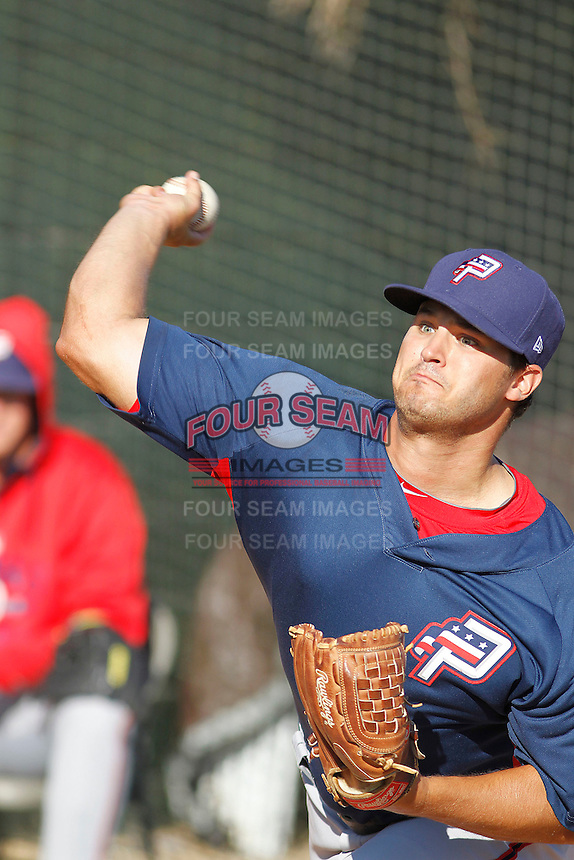 Potomac Nationals pitcher Tyler Mapes (22) warming up in the bullpen before a game against the Myrtle Beach Pelicans at Ticketreturn.com Field at Pelicans Ballpark on May 23, 2015 in Myrtle Beach, South Carolina.  Myrtle Beach defeated Potomac 7-3. (Robert Gurganus/Four Seam Images)
