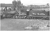 Left side view of K-27 #454 on Gunnison roundhouse lead track.<br /> D&amp;RGW  Gunnison, CO  Taken by Hulse, Harry - 1940