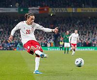 18th November 2019; Aviva Stadium, Dublin, Leinster, Ireland; European Championships 2020 Qualifier, Ireland versus Denmark; Yussuf Poulsen of Denmark crosses the ball - Editorial Use