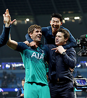 Tottenham Hotspur manager Mauricio Pochettino (right) celebrates with Fernando Llorente (left) and Son Heung-Min celebrate at the final whistle<br /> <br /> Photographer Rich Linley/CameraSport<br /> <br /> UEFA Champions League - Quarter-finals 2nd Leg - Manchester City v Tottenham Hotspur - Wednesday April 17th 2019 - The Etihad - Manchester<br />  <br /> World Copyright © 2018 CameraSport. All rights reserved. 43 Linden Ave. Countesthorpe. Leicester. England. LE8 5PG - Tel: +44 (0) 116 277 4147 - admin@camerasport.com - www.camerasport.com