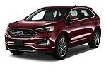 2019 Ford Edge Titanium 5 Door SUV angular front stock photos of front three quarter view