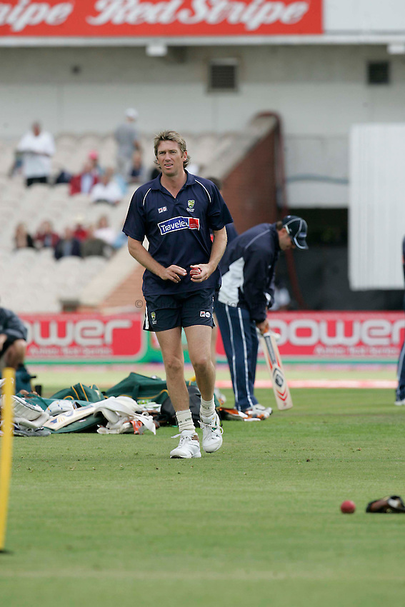 Photo: Peter Phillips..England v Australia. nPower Test Match Series, The Ashes 3rd Test. 12/08/2005..Australian fast bowler Glen McGrath during warm up this morning