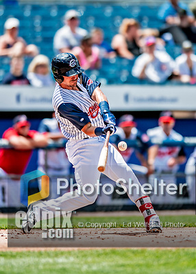 22 July 2018: Syracuse SkyChiefs infielder Matt Reynolds in action against the Louisville Bats at NBT Bank Stadium in Syracuse, NY. The Bats defeated the Chiefs 3-1 in AAA International League play. Mandatory Credit: Ed Wolfstein Photo *** RAW (NEF) Image File Available ***