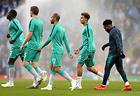 Tottenham Hotspur's Dele Alli (2nd right) wears a cast on his broken hand during the pre-match warm-up <br /> <br /> Photographer Rich Linley/CameraSport<br /> <br /> UEFA Champions League - Quarter-finals 2nd Leg - Manchester City v Tottenham Hotspur - Wednesday April 17th 2019 - The Etihad - Manchester<br />  <br /> World Copyright © 2018 CameraSport. All rights reserved. 43 Linden Ave. Countesthorpe. Leicester. England. LE8 5PG - Tel: +44 (0) 116 277 4147 - admin@camerasport.com - www.camerasport.com