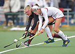 MICDS player Mia Duchars (left) and Duchesne's Suzy Keefer fight for the ball. Villa Duchesne defeated MICDS 1-0 in the championship game of the 40th Midwest Field Hockey Tournament at the SportPort Athletic Complex in Maryland Heights, MO on Saturday November 3, 2018.<br /> Tim Vizer/Special to STLhighschoolsports.com