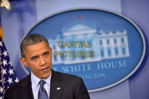United States President Barack Obama holds a press conference in the Brady Press Briefing Room at the White House in Washington, DC, US..8th June 2012.headshot portrait black suit  blue tie.CAP/ADM/CNP/KD.©Kevin Dietsch/CNP/AdMedia/Capital Pictures.
