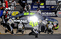 Apr 26, 2009; Talladega, AL, USA; NASCAR Sprint Cup Series driver Jimmie Johnson pits during the Aarons 499 at Talladega Superspeedway. Mandatory Credit: Mark J. Rebilas-