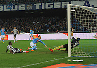 Jose Callejon shoots to score match between SSC Napoli and Juventus FC   at San Paolo stadium in Naples, March 30 , 2014