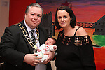 Mayor Paul Bell with Denise McGuirk and her baby Jake Tuohy at the Open Day for Boyne Garda Youth Project...Picture Jenny Matthews/Newsfile.ie