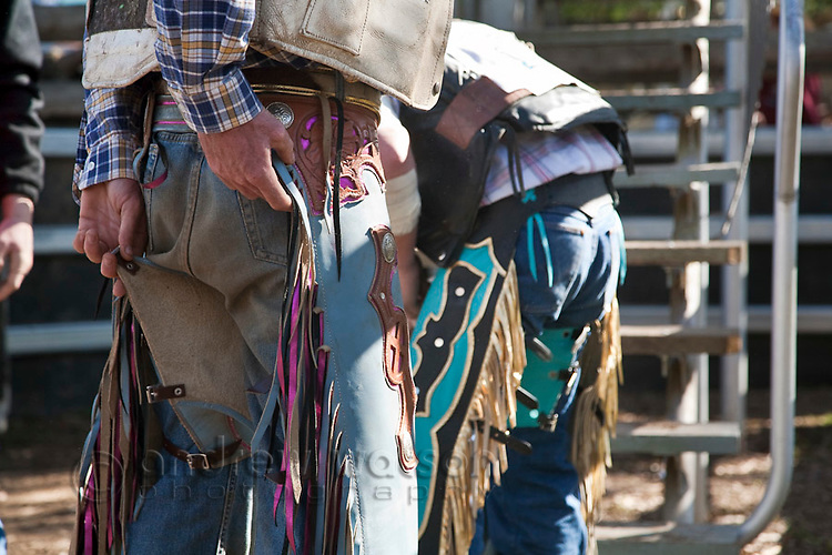 Cowboys putting on chaps for bull riding competition.  Mareeba Rodeo, Mareeba, Queensland, Australia