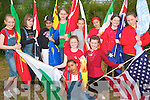 INTERNATIONAL FLAGS: Students of Scoil Eoin with the Flags of the different nations represented at their International Cultural Day Olympic Ceremony on Thursday front l-r: Nicole Whelan, Saoirse Prenderville and Cira Holmes. Back l-r: Aimee Horgan, Nikki Breen, Zahra Mahode, Vilte Kaltkaite, Kinga Maliszewski, Elsa Cenaj, Ellen Rusk and Iri?ona Collins..   Copyright Kerry's Eye 2008