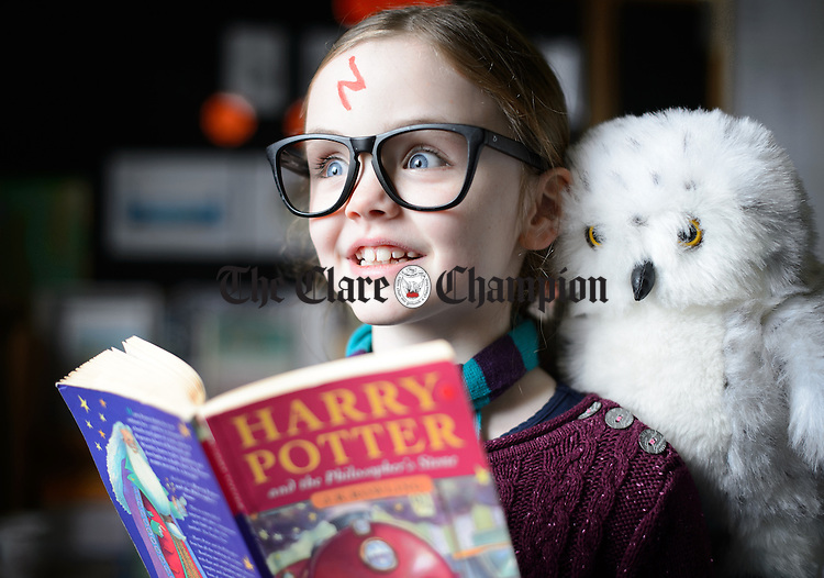 Mia Sheerin as Harry Potter celebrating world book day at in Scoil Realt na Mara, Kilkee. Photograph by John Kelly.