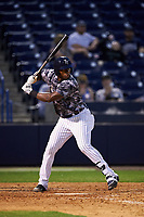 Tampa Yankees right fielder Jhalan Jackson (38) at bat during a game against the Bradenton Marauders on April 15, 2017 at George M. Steinbrenner Field in Tampa, Florida.  Tampa defeated Bradenton 3-2.  (Mike Janes/Four Seam Images)