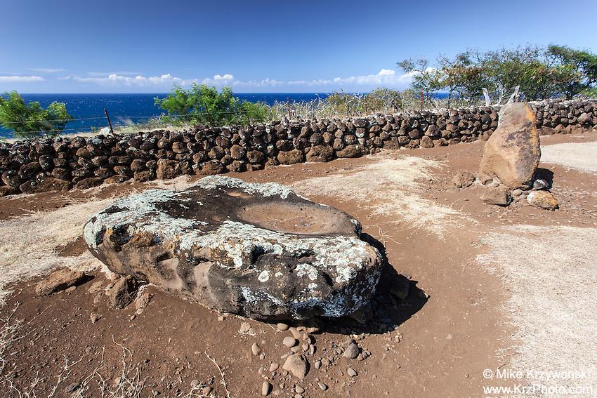 Sacrificial stone altar at Mo'okini heiau, Big Island, Hawaii