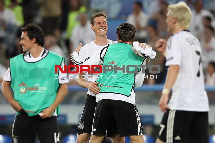 UEFA Euro 2008 Semi-Finals Match 29 Basel - St. Jakob-Park. Deutschland ( GER ) - T&uuml;rkei ( TUR ) 3:2 ( 1:1 ). <br /> Tim Borowski ( Germany / Mittelfeldspieler / Midfielder / Bayern Muenchen #18 ) und Heiko Westermann ( Germany / Verteidiger / Defender / Schalke 04 #05 ) (l-r) feiern den Sieg.<br /> Foto &copy; nph (  nordphoto  )