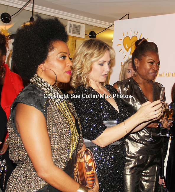 Rhonda Ross and Amy Carlson with Deborah Koenigsberger (CEO and Founder of - Hearts of Gold) annual All That Glitters Gala - 24 years of support to New York City's homeless mothers and their cildren - (VIP Reception - Silent Auction) was held on November 7, 2018 at Noir et Blanc and the 40/40 Club in New York City, New York.  (Photo by Sue Coflin/Max Photo)