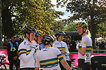 The Australian team after crossing the finish line at the end of the Women Elite Road Race of the UCI World Championships 2019 running 149.4km from Bradford to Harrogate, England. 28th September 2019.<br /> Picture: Seamus Yore | Cyclefile<br /> <br /> All photos usage must carry mandatory copyright credit (© Cyclefile | Seamus Yore)