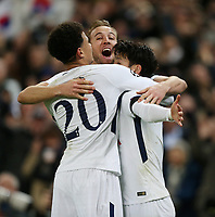 Tottenham Hotspur's Son Heung-Min celebrates scoring his side's first goal with Harry Kane and Dele Alli<br /> <br /> Photographer Rob Newell/CameraSport<br /> <br /> UEFA Champions League Round of 16 Second Leg - Tottenham Hotspur v Juventus - Wednesday 7th March 2018 - Wembley Stadium - London <br />  <br /> World Copyright &copy; 2017 CameraSport. All rights reserved. 43 Linden Ave. Countesthorpe. Leicester. England. LE8 5PG - Tel: +44 (0) 116 277 4147 - admin@camerasport.com - www.camerasport.com