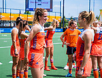 Den Bosch  -  Debutant in het grote Oranje, Felice Albers (Ned) , met Ireen van den Assem (Ned)    voor  de Pro League hockeywedstrijd dames, Nederland-Belgie (2-0).  COPYRIGHT KOEN SUYK