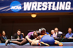 CLEVELAND, OH - MARCH 10: Jairod James, of Mount Union, top, wrestles Jon Goetz, of Wisconsin-Platteville, in the 174 weight class during the Division III Men's Wrestling Championship held at the Cleveland Public Auditorium on March 10, 2018 in Cleveland, Ohio. (Photo by Jay LaPrete/NCAA Photos via Getty Images)