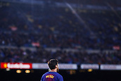 7th January 2018, Camp Nou, Barcelona, Spain; La Liga football, Barcelona versus Levante; Leo Messi of FC Barcelona looks up at the massed crowd