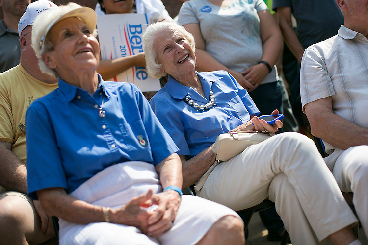 UNITED STATES - August 16: Supporters laugh as they listen to Sen. Bernie Sanders, D-Vt., speak at the Cedar Rapids Field Headquarters Opening in Marion, Iowa, on Sunday, August 16, 2015. (Photo By Al Drago/CQ Roll Call)