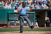 Home plate umpire Sean Ryan during the game between the Fresno Grizzlies and Salt Lake Bees at Smith's Ballpark on September 4, 2017 in Salt Lake City, Utah. Fresno defeated Salt Lake 9-7. (Stephen Smith/Four Seam Images)