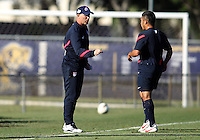 MIAMI, FL - DECEMBER 21, 2012:  Brian Bliss talks to Daniel Cuevas of the USA MNT U20 during a closed scrimmage with the Venezuela U20 team, on Friday, December 21, 2012, At the FIU soccer field in Miami.  USA won 4-0.
