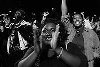 Chicago, Illinois, November 4th 2008.More than 200 000 people gathered in Grant Park to attend Barack Obama's meeting on election night. As the results slowly came in on the giant screens, emotion rose. At 10 PM, when CNN projected Obama's victory, the crowd erupted in cheers of joy, conscious of the historical significance of the moment.